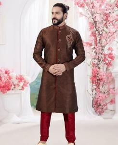 Silk Coffee Brown Mens Sherwani