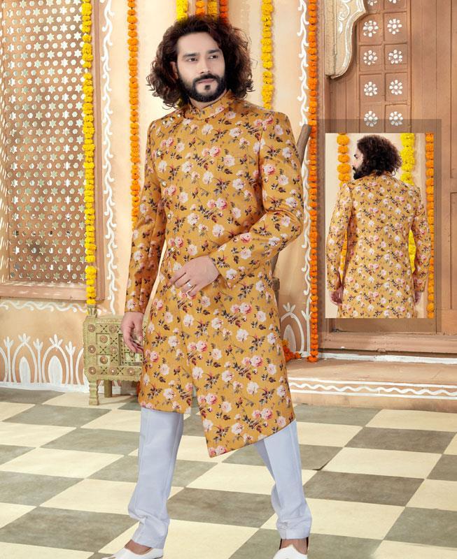 Printed Silk Yellow Mens Sherwani
