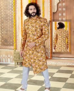 Printed Silk Yellow Mens Sherwani