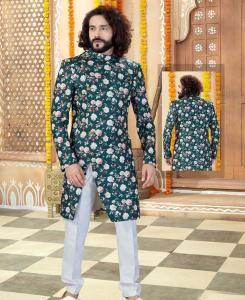 Printed Silk Bottle Green Mens Sherwani