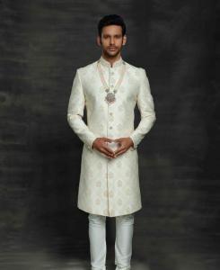 Silk Off White Mens Sherwani
