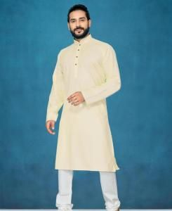Cotton Cream Mens Kurta Pajama