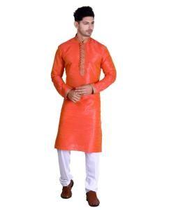 Cotton Orange Mens Kurta Pajama