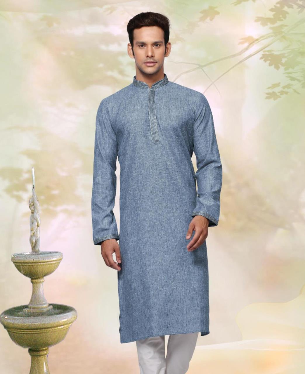 Cotton Grey Mens Kurta Pajama