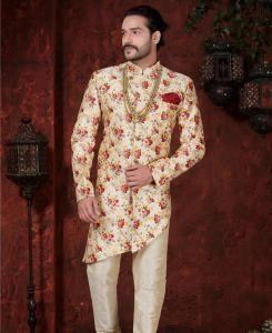 Printed Silk Cream  ,  Maroon Mens Sherwani