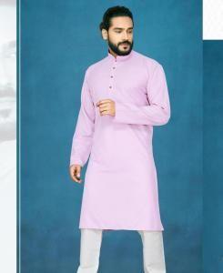 Cotton Light Purple Mens Kurta Pajama