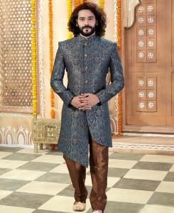 Silk Gray Mens Sherwani