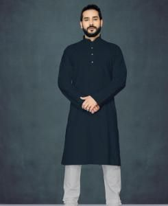 Cotton Black Mens Kurta Pajama