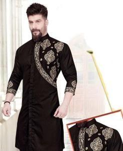 Embroidered Cotton BLACK Mens Kurta Pajama