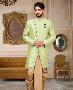 Zari Cotton Green Mens Sherwani