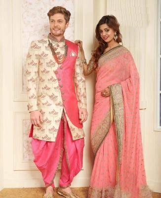 Silk Cream  ,  Pink Mens Sherwani