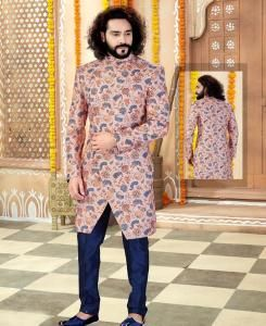 Printed Silk Peach Mens Sherwani