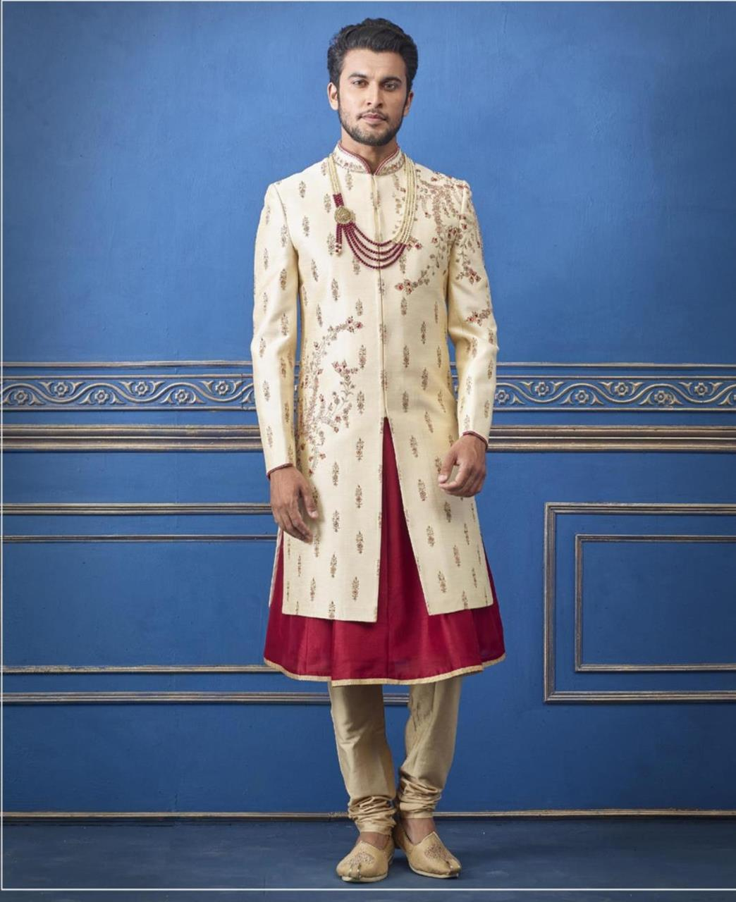 Embroidered Silk Golden Mens Sherwani