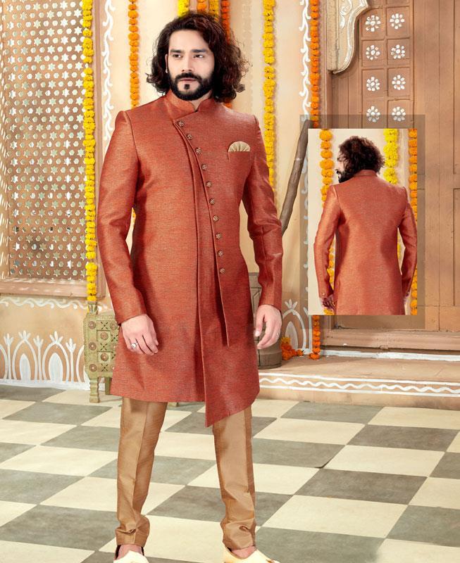 Silk Rust Mens Sherwani