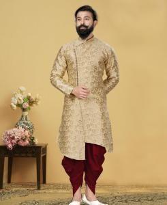 Silk Beige Mens Sherwani