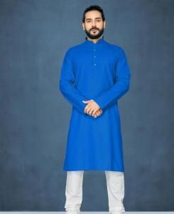 Cotton Blue Mens Kurta Pajama