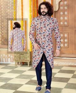 Printed Silk Off White Mens Sherwani