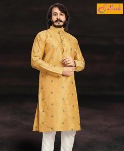 Embroidered Cotton Yellow Mens Kurta Pajama