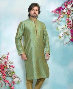 Silk Sea Green Mens Kurta Pajama