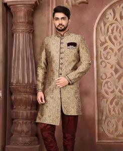 Silk Dark Beige Mens Sherwani