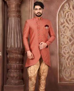 Silk Red Mens Sherwani
