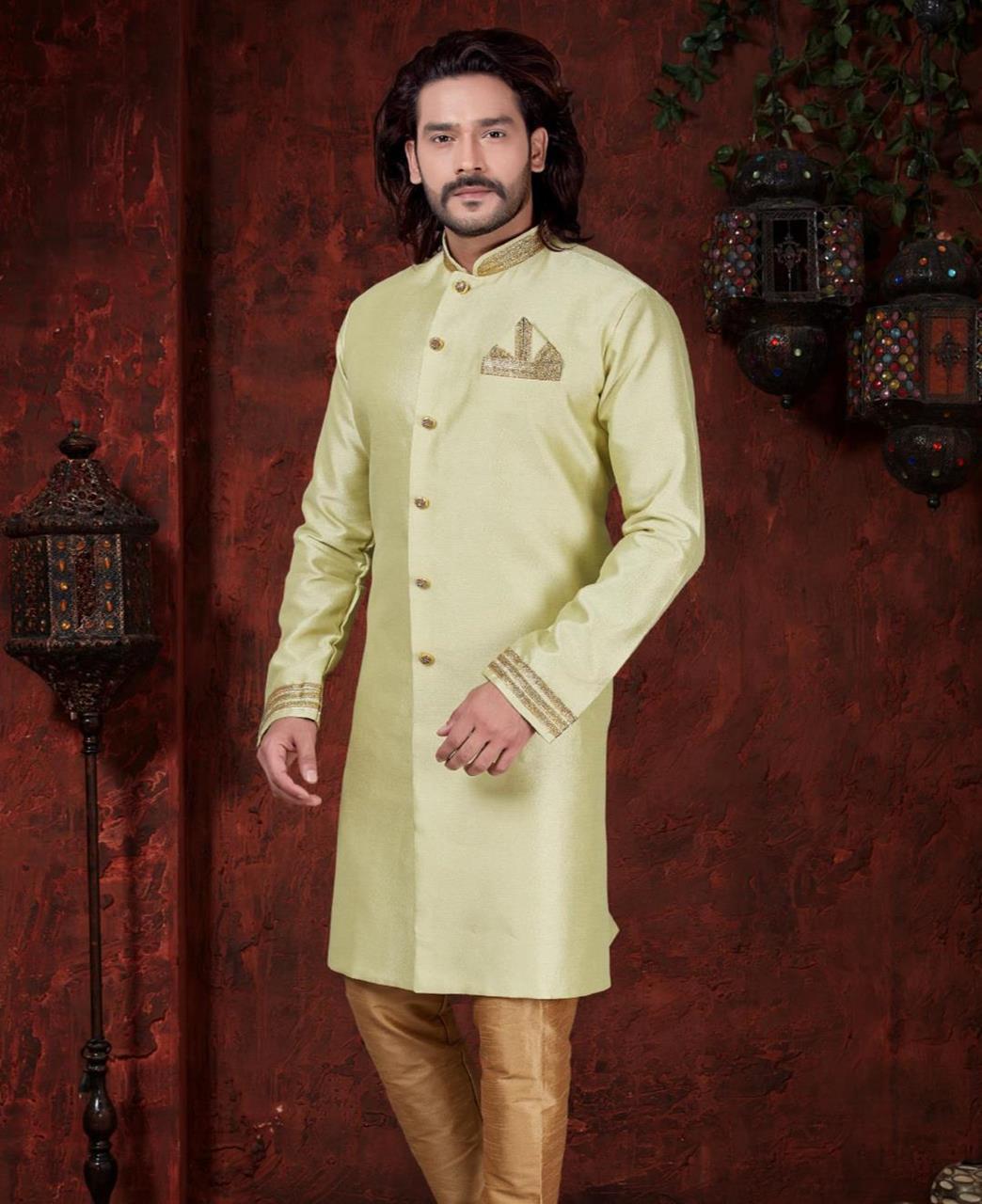 Silk Pista Green Mens Sherwani