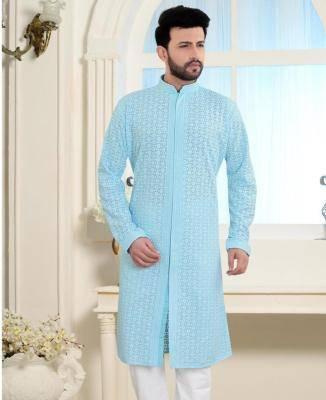 Embroidered Cotton Pastel Light Blue Mens Kurta Pajama