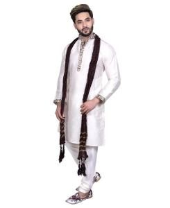 Silk Off White Mens Kurta Pajama