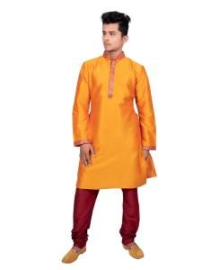 Silk Orange Mens Kurta Pajama