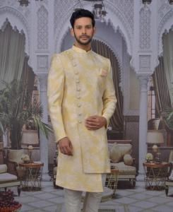 Jacquard Yellow Mens Sherwani