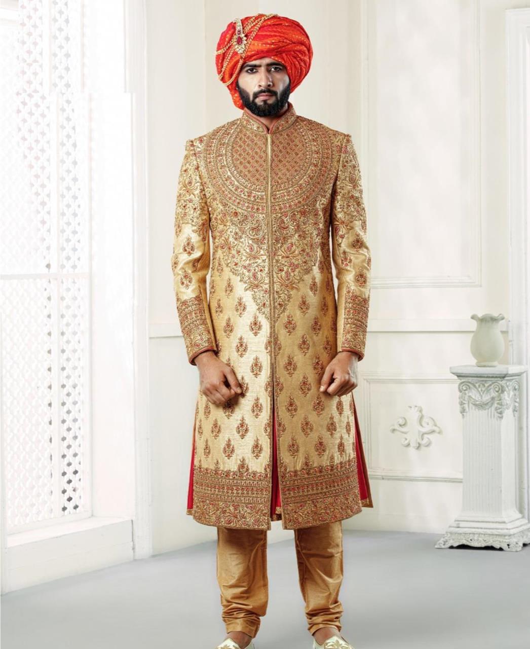 Embroidered Silk Yellow Mens Sherwani