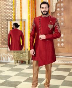 Silk Maroon Mens Sherwani