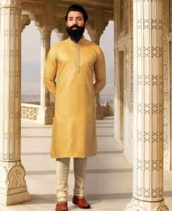 Silk Yellow Mens Kurta Pajama