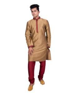Silk Golden Mens Kurta Pajama