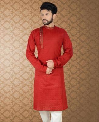 Embroidered Cotton Red Mens Kurta Pajama