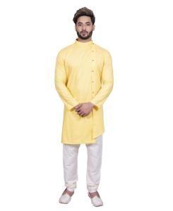 Cotton Yellow Mens Sherwani