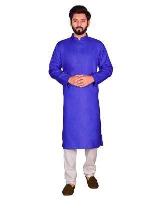 Cotton Royal Blue Mens Kurta Pajama