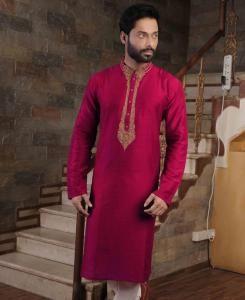 Silk Pink Mens Kurta Pajama