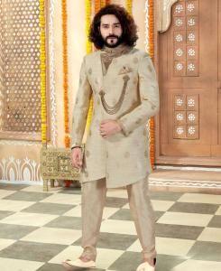Silk Cream Mens Sherwani