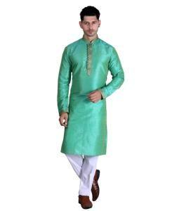 Cotton Lime Green Mens Kurta Pajama
