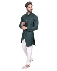 Cotton Bottle Green Mens Sherwani