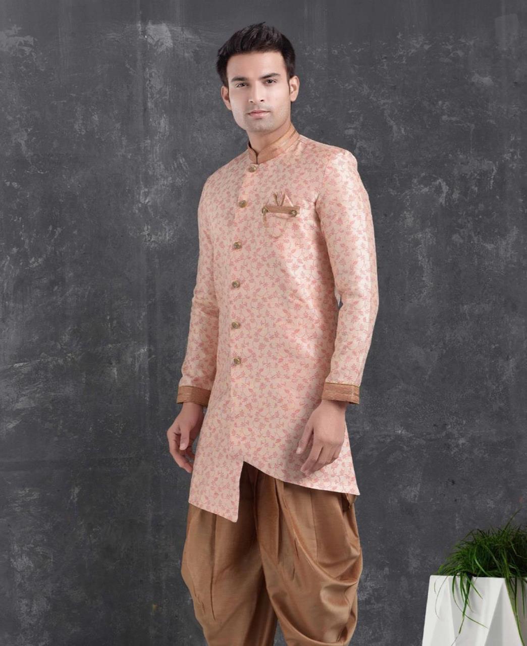 Silk Pink Mens Sherwani