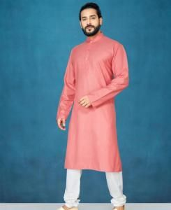 Cotton Peach Mens Kurta Pajama