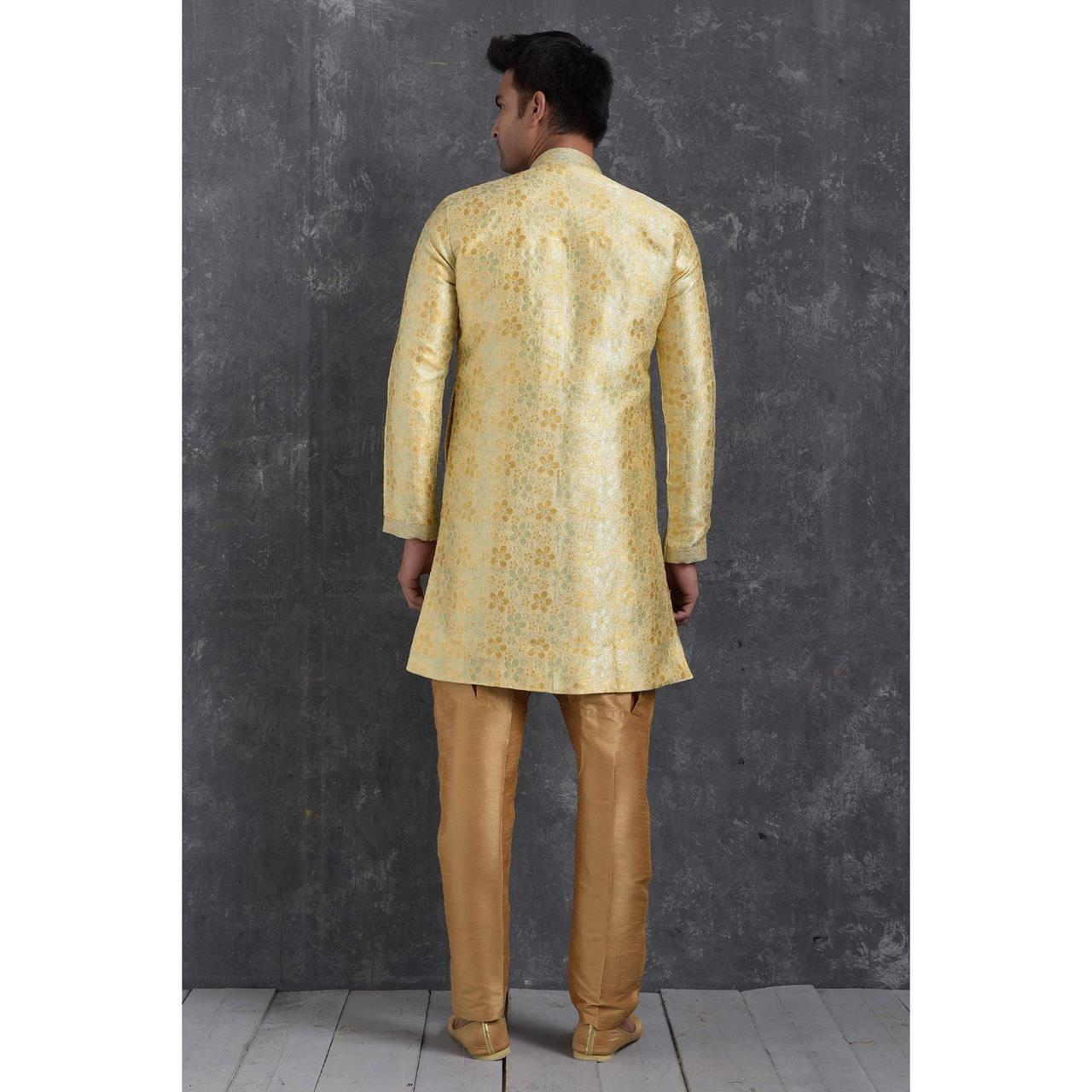Silk Yellow Cream Mens Sherwani