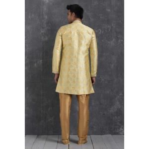 Silk Yellow Cream Mens Sherwani
