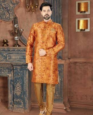 Printed Silk Gold Mens Sherwani
