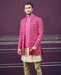 Embroidered Silk Pink Mens Sherwani