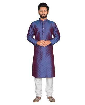 Cotton Blue Mens Kurta Pajama