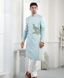 Embroidered Silk Sky Blue Mens Sherwani