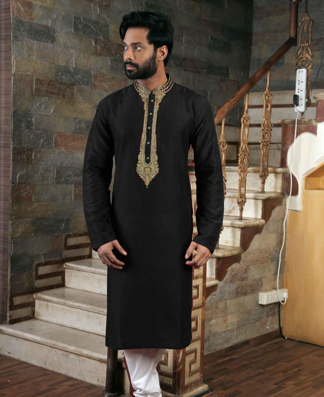 Silk Black Mens Kurta Pajama